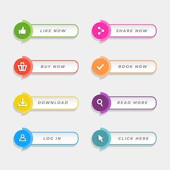 Płaski pakiet przycisków wezwania do działania
