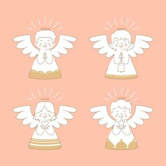 Płaski pakiet świątecznych aniołów
