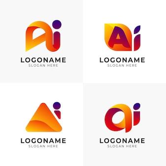 Płaski pakiet szablonów logo ai gradientu