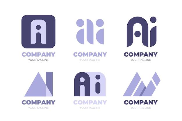 Płaski pakiet szablonów logo ai