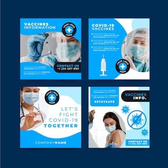 Płaski pakiet szczepionek na instagram ze zdjęciami