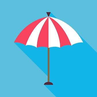 Płaski parasol plażowy z długim cieniem. ilustracja wektorowa stylizowanego parasola słonecznego