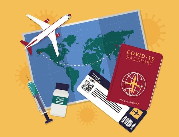 Płaski paszport szczepień do podróży