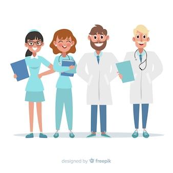 Płaski personel medyczny szpitala