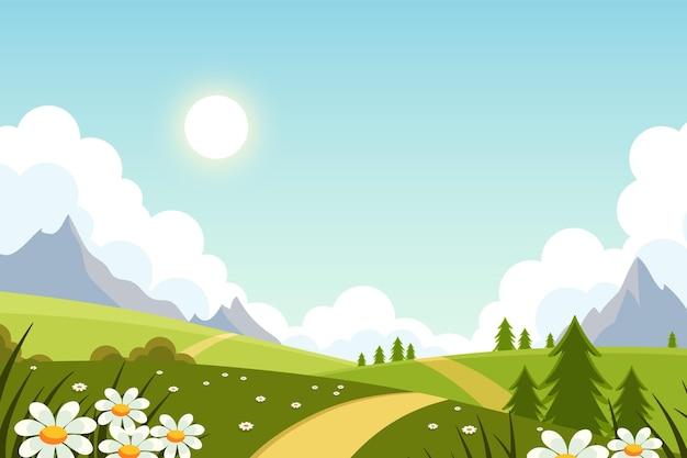 Płaski piękny wiosna krajobraz tło