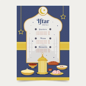 Płaski pionowy szablon menu iftar