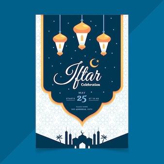 Płaski pionowy szablon plakatu iftar