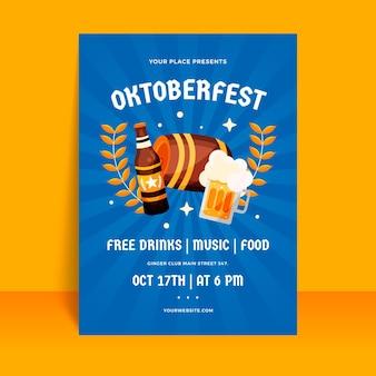 Płaski pionowy szablon plakatu oktoberfest