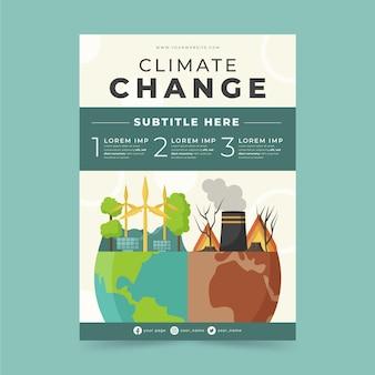 Płaski pionowy szablon ulotki dotyczący zmiany klimatu