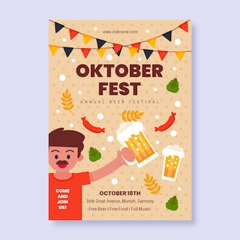 Płaski pionowy szablon ulotki oktoberfestfest