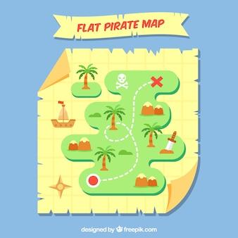 Płaski pirate mapę