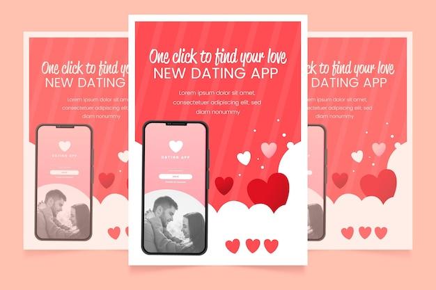 Płaski plakat aplikacji randkowej szablon