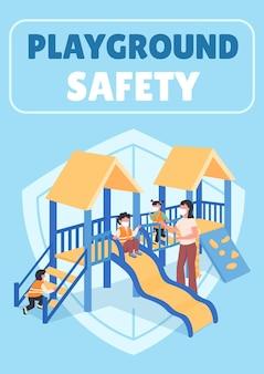 Płaski plakat bezpieczeństwa placu zabaw. nauczyciel z dziećmi w maskach.