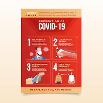 Płaski plakat dotyczący zapobiegania koronawirusowi dla hoteli