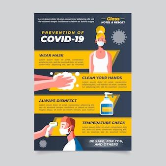 Płaski Plakat Dotyczący Zapobiegania Koronawirusowi Dla Hoteli Darmowych Wektorów
