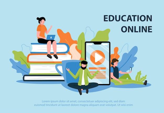 Płaski plakat edukacji online z młodymi ludźmi uczestniczącymi w ilustracji seminarium internetowego