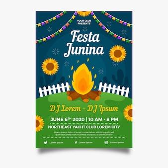 Płaski plakat festa junina ognisko plakat