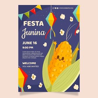 Płaski plakat festa junina