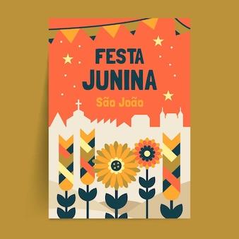 Płaski plakat festiwalu czerwca