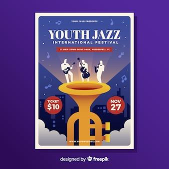 Płaski plakat festiwalu muzyki jazzowej