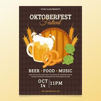 Płaski plakat festiwalu oktoberfest