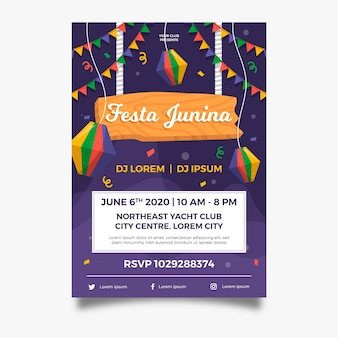 Płaski plakat girlandy festa junina