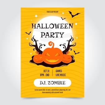 Płaski plakat halloween party