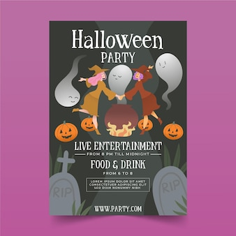 Płaski plakat halloween party