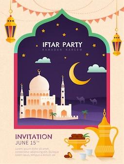 Płaski plakat imprezowy iftar z meczetem, palmą daktylową i zestawem do herbaty