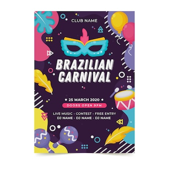 Płaski plakat karnawał brazylijski