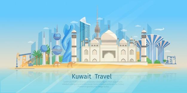 Płaski plakat kuwait skyline