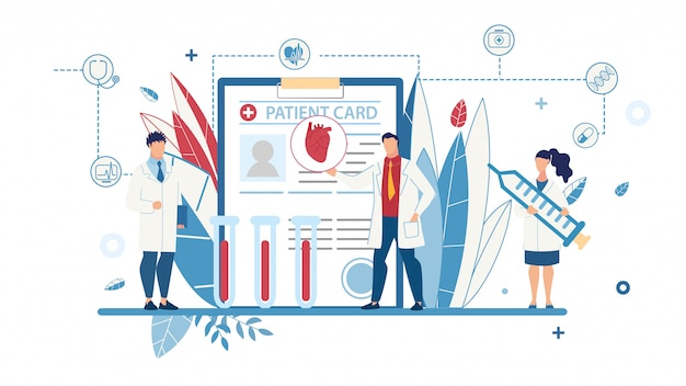 Płaski plakat medyczny z lekarzami płci męskiej i żeńskiej
