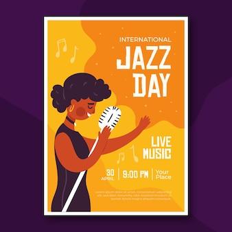 Płaski plakat międzynarodowego dnia jazzu