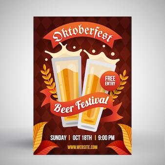 Płaski plakat oktoberfest z kuflami piwa