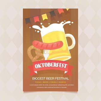 Płaski plakat oktoberfest z wurst i kuflem