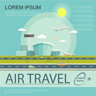 Płaski plakat podróży lotniczych