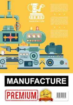 Płaski plakat produkcji przemysłowej z linią produkcyjną i ikoną ramienia robota na pomarańczowym tle ilustracji