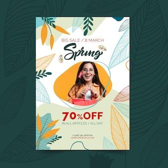 Płaski plakat sprzedaży wiosennej