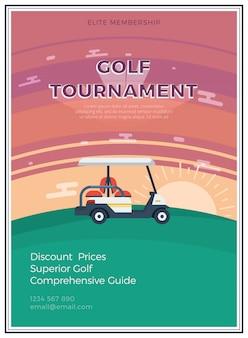 Płaski plakat turnieju golfowego