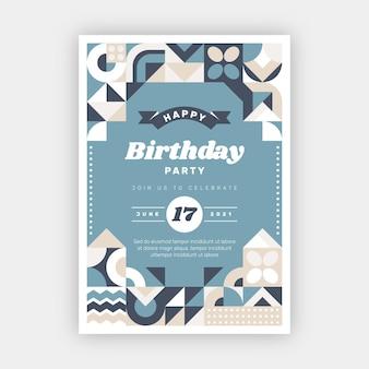 Płaski plakat urodzinowy z mozaiką
