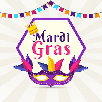 Płaski plakat w stylu mardi gras
