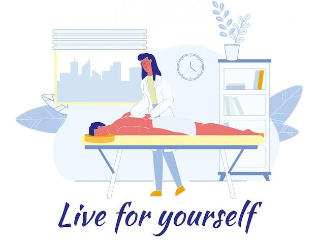 Płaski plakat z afirmacją live for yourself