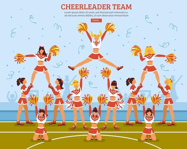 Płaski plakat zespołu drużyny cheerleaderki