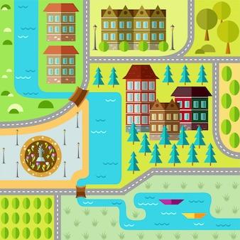 Płaski plan miasta.