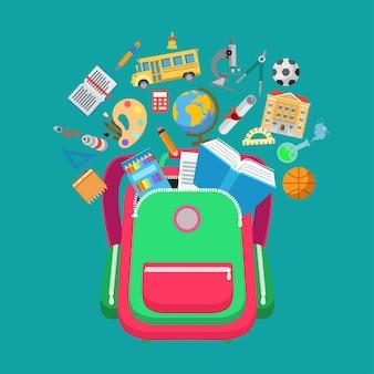 """Płaski plecak koncepcyjny z ilustracją typów obiektów edukacyjnych szkoły. edukacja i wiedza, koncepcja """"powrotu do szkoły"""". ikony autobusu, mikroskopu, budynku, kolby, palety i certyfikatu"""