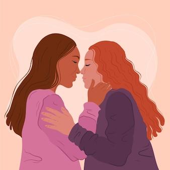 Płaski Pocałunek Lesbijek Darmowych Wektorów