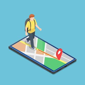 Płaski podróżnik izometryczny 3d korzysta z aplikacji mapowej na smartfonie, aby dotrzeć do celu. koncepcja mobilnego systemu nawigacji gps.