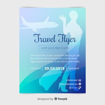 Płaski podróżny plakat szablon