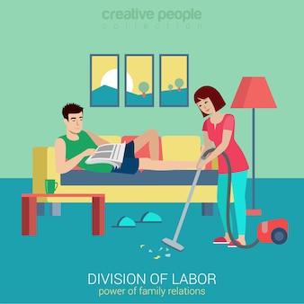 Płaski podział stylu pracy sytuacja konfliktowa w gospodarstwie domowym stosunki domowe. kobieta odkurzacz mężczyzna leżący czytając gazetę. kolekcja kreatywnych ludzi.