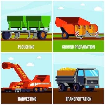 Płaski pojęcie produkcji ziemniaków z orką przygotowania gruntu zbiorów i transportu na białym tle